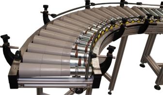 Motorized curved roller conveyor elcom for industry