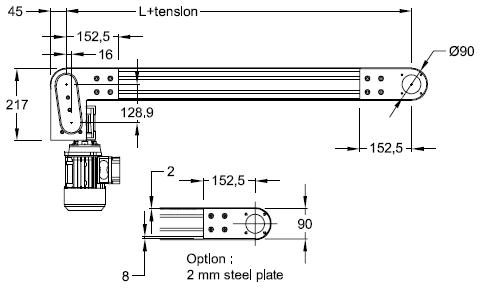 Conveyor 90 end drive motor below elcom